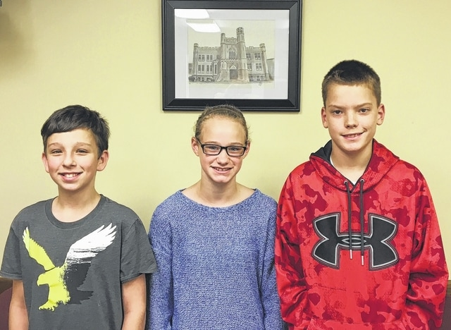 The Urbana Junior High Students of the Month are, from left, sixth grader Justin Rutan, seventh grader Aryn Upchurch and eighth grader Dustin Batsche.