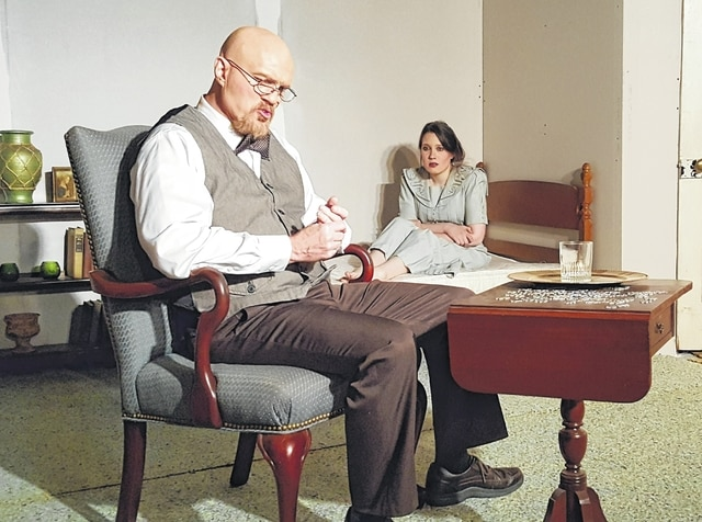 "This dress rehearsal photo of ""Veronica's Room"" at The Perennial Theatre, 242 Patrick Ave. in Urbana, shows Steve Dietrich, left, and Mercedes Dagnan, right."