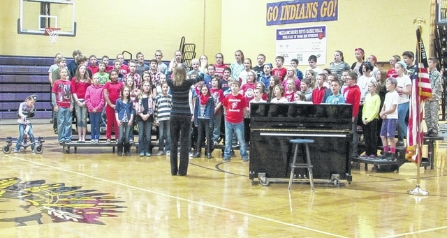 Mechanicsburg Dohron Wilson Elementary students sing to area veterans at the school's annual Veterans Day program Wednesday, Nov. 11.
