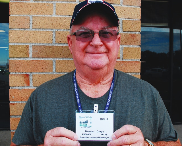 Urbana resident and Vietnam War veteran Dennis Crego participated in the Honor Flight program last weekend giving him the opportunity to see the Vietnam Veterans Memorial for the first time.