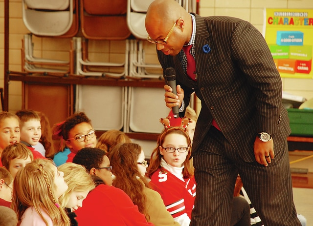 Former Ohio State football player Dimitrious Stanley (pictured) spoke to students at Urbana East Elementary on Monday about topics such as respect and the importance of reading. Stanley was a wide receiver and running back for the Buckeyes from 1993-96. For his OSU career, Stanley had 63 receptions for 1,136 yards and 13 touchdowns. He ran for Columbus City Council and lost earlier this month.