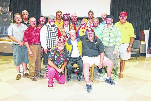 "At the Antioch Shrine 2016 Circus Kick-off, Bud Parsons of St. Paris was named Antioch Shrine ""Legacy Clown."" A member of the Champaign County Shrine Club, he has been an active Funster (clown) for 45 years and a Mason more than 60 years. He is shown in the center surrounded by fellow Antioch Shriners and Clowns."