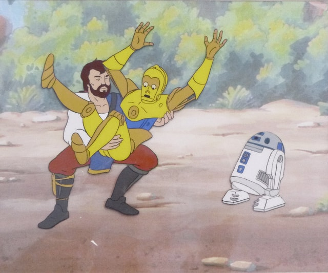 "The original production animation cel pictured was used in the making of ""Star Wars Droids: The Adventures of R2-D2 and C-3PO,"" an ABC-TV series that ran in 1985. The cel is one of many original Star Wars production art pieces that will be on display at the Champaign County Arts Council beginning Saturday with the Urban Loft Tour."