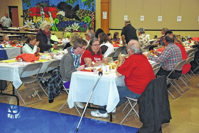 St. Paris-area churches hosted a community Thanksgiving at Graham Elementary School on Thursday. The event was one of two large Thankgiving dinner efforts, the other being in Urbana at the Caring Kitchen.