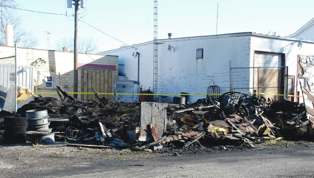Tires are shown at the scene of a suspected arson in West Liberty that occurred over the weekend.