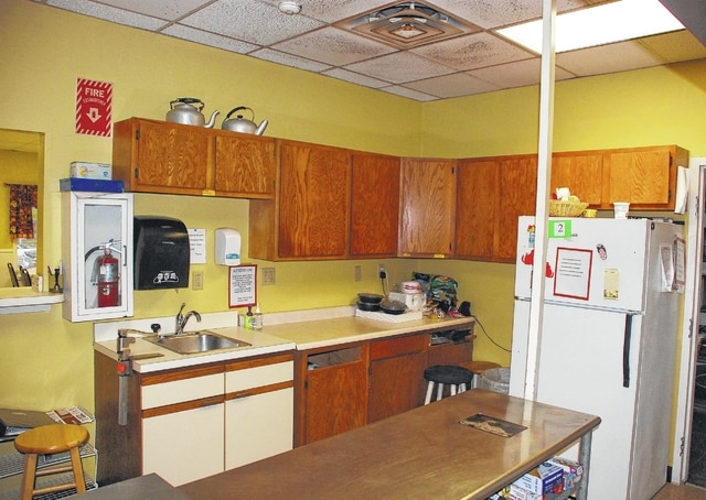 Pictured are the kitchen cabinets and a portion of the ceiling at Caring Kitchen in Urbana that will be replaced through a grant awarded to the nonprofit organization by the Ohio Development Services Agency.