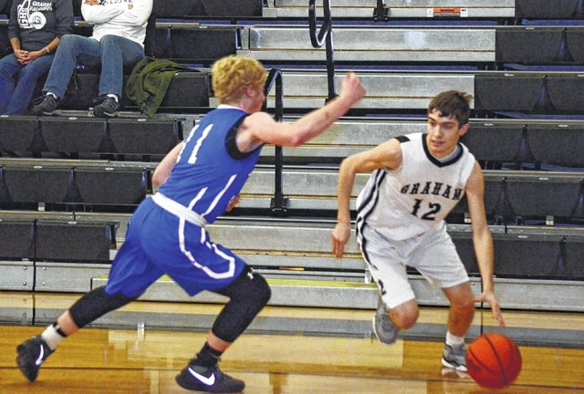 Graham's Andrew Ford races around a defender on the baseline Tuesday night at Graham High School. Ford finished with 17 points to aid in the Falcons' attack.