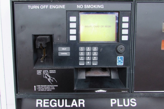 Pictured is a credit/debit card reader located on a fuel pump at an Urbana gas station. Scam artists throughout the Miami Valley are stealing credit/debit card information from gas pumps by installing skimming devices inside card readers like the one above. There have been no reported cases of skimmers being used at any gas pump in Champaign County.