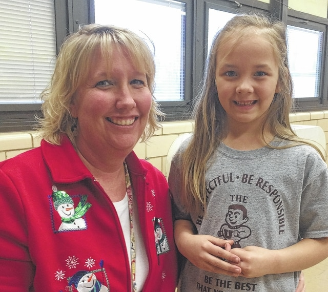 First grader Alanee Horsely, shown with teacher Bowdle, is a Student of the Month at Urbana North Elementary.