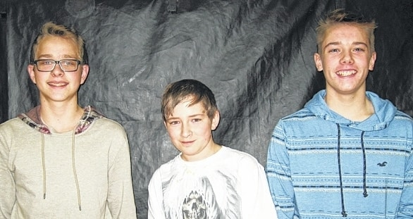 From left are Zach Glock, Graham Higgins and Zayne Reed.