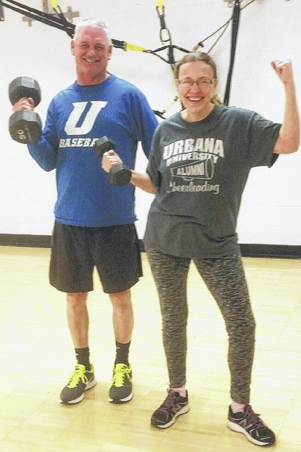 Jerry and Billie Jo Fetherolf are in exercise mode in the Y's aerobics studio.