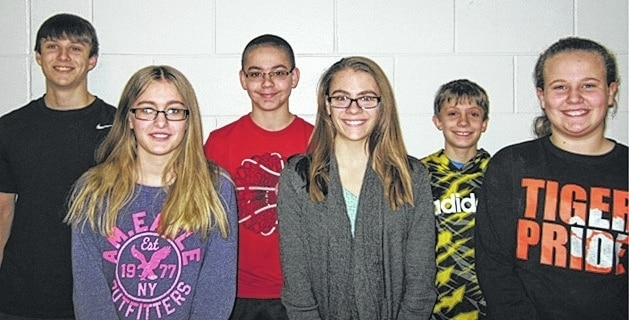 The January West Liberty-Salem Middle School Students of the Month are 8th graders Taylor Wayman and Ian Wolfe, 7th graders Katelyn Stapleton and Dawson Jenkins and 6th graders Bella Kauffman and Christian Griffith.