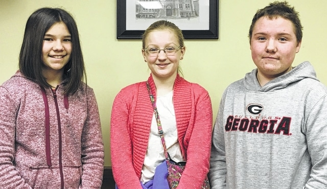 The Students of the Month for Urbana Junior High are, from left, Morgan Ziegle, grade 6, Raegan Hep, grade 7, and Cameron Walrod, grade 8.