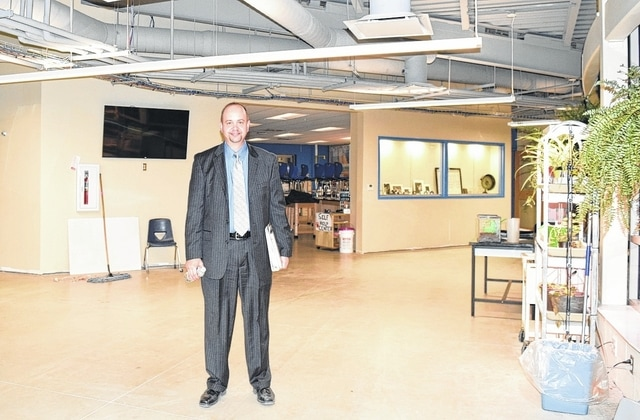 West Liberty-Salem Superintendent Kraig Hissong stands in the new science wing at the school. The science wing is one of the new classroom spaces created in the building project. The space still needs flooring and finishing touches. When complete, it will have glass sliding doors that can remain open for a large classroom or closed for smaller classrooms.