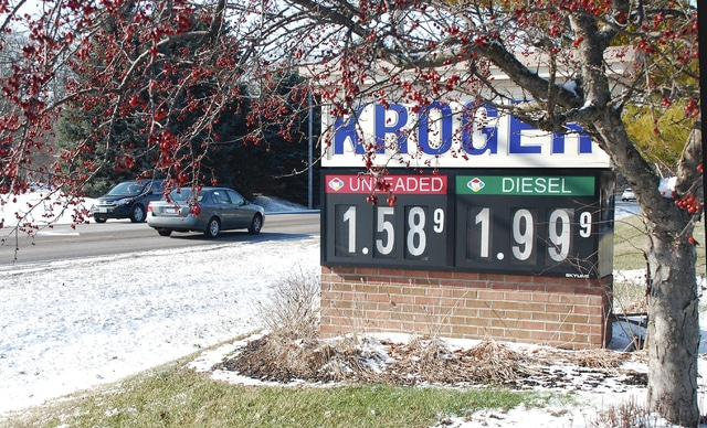 Gasoline prices for regular unleaded were at $1.58 per gallon at the Kroger station in Urbana Thursday afternoon. As recently as July of 2014, national average gasoline prices were $3.56 per gallon. Prices in Ohio generally run below average.