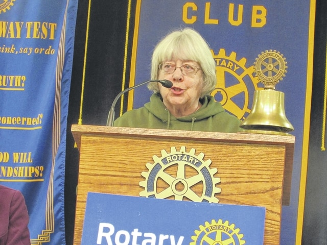 Carol Burnett fills in St. Marys Rotary members about Lots For Soldiers. Burnett and her husband founded the organization to help veterans and military members find affordable housing in the west-central Ohio region.