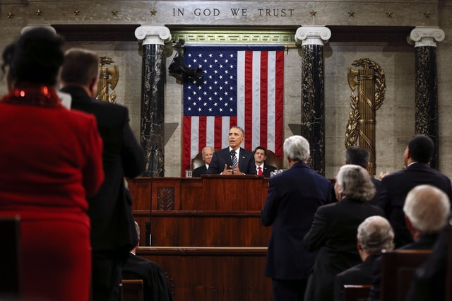 President Barack Obama delivers his State of the Union address to a joint session of Congress on Capitol Hill in Washington, Tuesday, Jan. 12, 2016. (AP Photo/Evan Vucci, Pool)