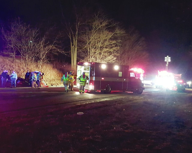 Crews responded to a three vehicle injury crash Tuesday evening where one vehicle was flipped over onto its side. The driver and a passenger in this vehicle remained hospitalized as of Wednesday.