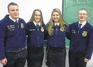 The Mechanicsburg FFA competed at the sub-district public speaking contest Feb. 16 at Graham High School. Ashley Dailey was the sub-district champion in advance prepared. John Kent was the sub-district champion in beginning prepared. Both were to move on to the district public speaking contest on Feb. 23. Taylor Ayars was to advance to the district contest. Jack Shoemaker did a tremendous job in extemp speaking.
