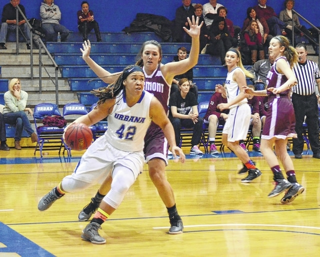 UU's Jazmyn Haley drives the baseline looking for a reverse layup Thursday against visiting Fairmont State.