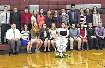 Urbana High School held the National Honor Society induction Jan. 28. To be eligible for National Honor Society, a student must have a minimum grade point average of 3.3 and personify the virtues of Character, Service and Leadership in the school and community. Shown are, back row from left, second year members Trenton Dunham, Robert Daniels, Trevor Pittsenbarger, Olivia Bixler (secretary), Maile Moyer, Sara Lingrell (vice president), Lucy Buckalew, Leman Simpson (president), Anthony Burnett, Emma Burnside (historian), Morgan Hamilton(treasurer), Lily Jones, front from left, inductees Conner Prince, Allison Upchurch, Marra Evans, Olivia Krieger, Karsen Voorhees, Mackenzie McGill, Nickolas Pettit, Ali Millner, Andrew Fansler and Langston Kitchen.