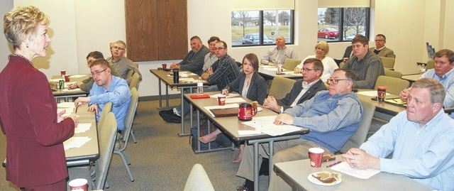 Chris Schmenk, former director of the Ohio Development Services Agency, leads a joint economic development training session for board members of the Champaign Economic Partnership, Champaign County Chamber of Commerce and West Central Ohio Port Authority.