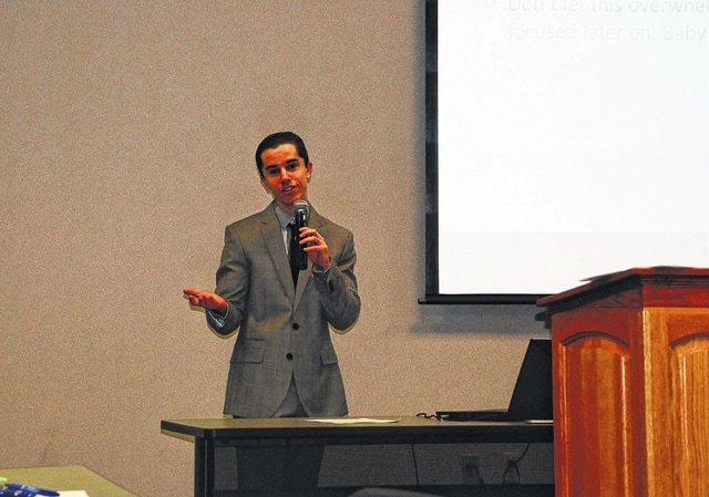Gabe Jones, Champaign Health District's epidemiologist, speaks during a meeting held Feb. 3 at the Champaign County Community Center to discuss the county's Community Health Assessment.