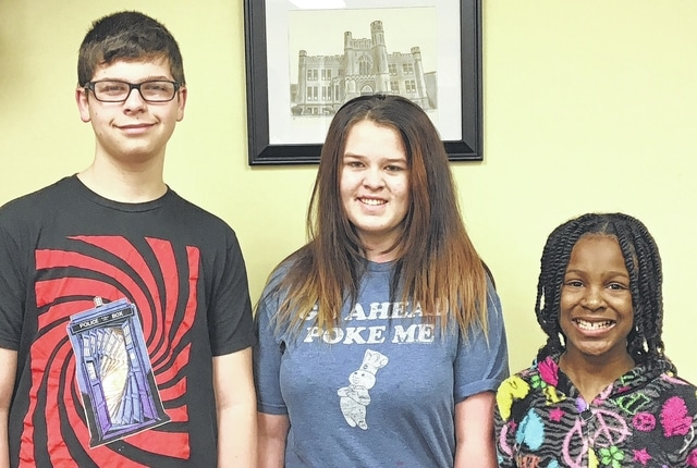 The Urbana Junior High School Students of the Month are 8th grader Logan Pence, 7th grader Kaylee Pryor and 6th grader Zoey Adams.