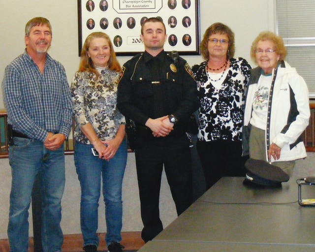 Officer Cade Hunt is pictured with family after his swearing-in ceremony in December. From left are his father Rick Hunt, stepmother Mary Hunt, Officer Hunt, mother Valerie Ormsbee and grandmother Buela Hunt.