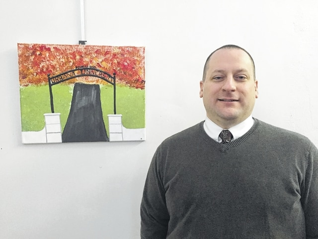 Nick Christian is Associate Dean of Students for Professional Development, Urbana University. His current and past affiliations include Urbana Nazarene Church, Champaign County Chamber of Commerce, Leadership Champaign County Steering Committee and program graduate. His artwork depicts the recently added entrance to Urbana University from College Way.