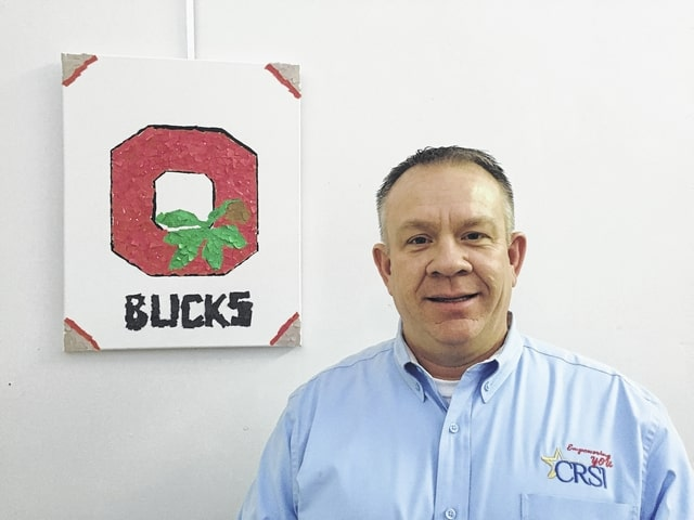 Scott DeLong of CRSI shows Buckeye spirit through his artwork. DeLong is active in the community, serving on local boards including Mechanicsburg Exempted Village Schools.