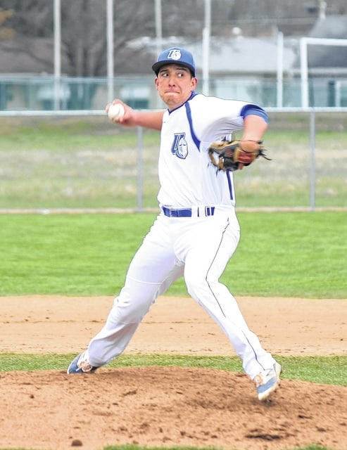 Urbana University's Adam Ramirez delivers a pitch in relief during the fifth inning of the second game of UU's doubleheader against visiting Virginia-Wise on Friday.