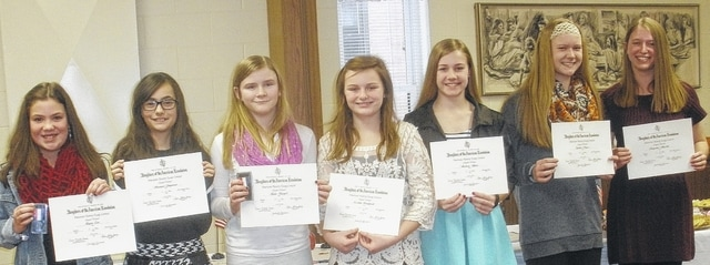 DAR essay award winners are, from left, 5th grade - Kayla Cole, 1st place and Southwest District winner, West Liberty-Salem, Arianna Chapman, 2nd place, West Liberty-Salem; 6th grade - Kylie Burgel, 1st place, West Liberty Salem; 7th grade - Cecilia Bradford, 1st place, Mechanicsburg, Audrey Ayers, 2nd place, Mechanicsburg; 8th grade - Sydnee Payer, 1st place, West Liberty-Salem, Cheyenne Gluckle, 2nd place, West Liberty-Salem; not pictured – Grace Winters, 6th grade 2nd place winner, West Liberty-Salem.