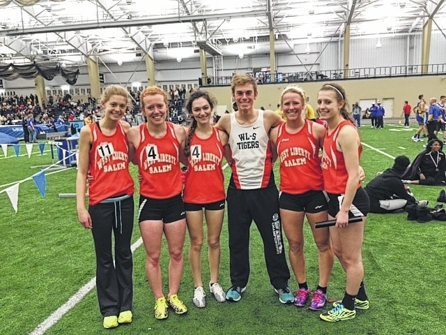 The West Liberty-Salem indoor track and field state participants, left to right: Katie Hartsel, Leah Cole, Caylee Karg, Joey Adams, Morgan Freyhof, Reghan Bieleski.