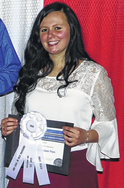 Amanda Cole of Huntsville received a scholarship from the Ohio Association of Meat Processors. A Curly's Meats employee, she attends Ohio State University.