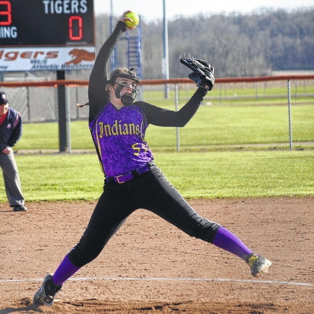 Elysha Stapleton delivers a pitch against West Liberty-Salem on Tuesday. The Indians got the win behind Stapleton's three-hit shutout.