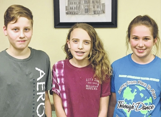 The Urbana Junior High Students of the Month are, from left, Caden Baker, 8th grade; Paige Deere, 7th grade; and Kaylynn Wilhelm, sixth grade.