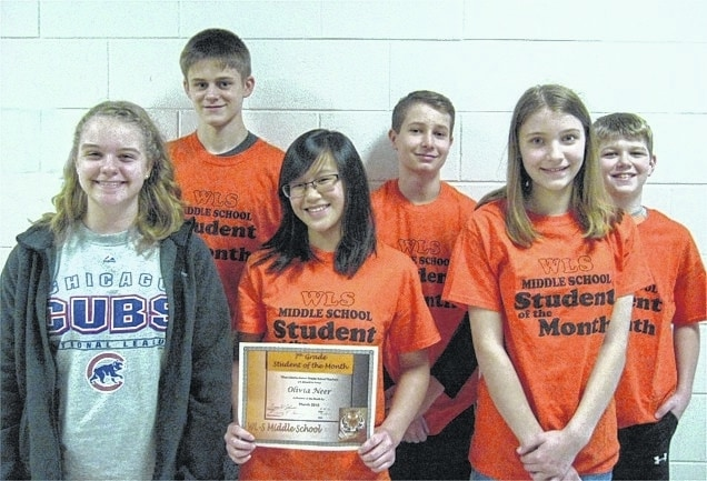 The West Liberty-Salem Middle School Students of the Month for March are 8th graders Kaylah Erwin and Jack Eggleston, 7th graders Olivia Neer and Lance Baldwin and 6th graders Jamie Gluckle and Owen Johnson.