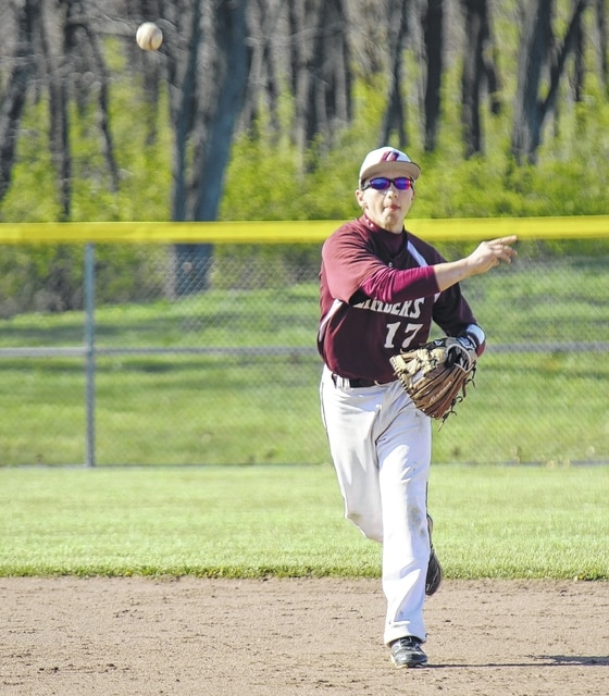 In this April 14 file photo, Urbana sophomore Brayden Fain whips a ball over to first base.
