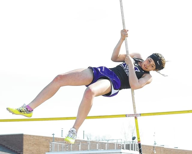 Mechanicsburg's Callie Kaiser goes over the bar during the pole vault competition Tuesday.