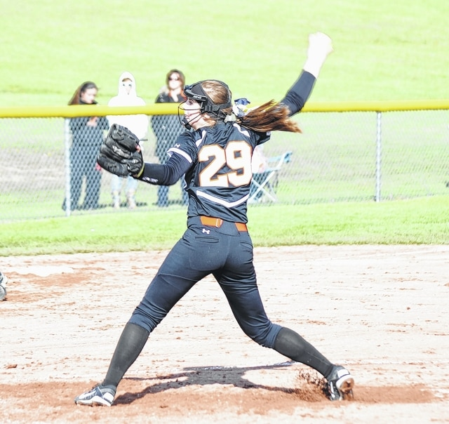 West Liberty-Salem's Kelsey Day fires a pitch from the circle at Triad on Tuesday.