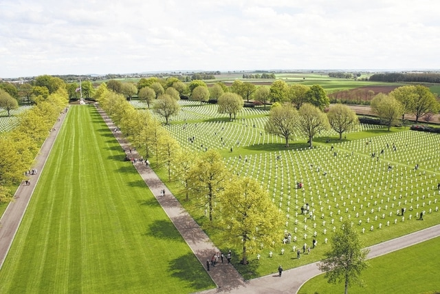 Pictured is an overhead look at the inaugural The Faces of Margraten tribute held in May 2015 at the Netherlands American Cemetery and Memorial located in Margraten, Netherlands.