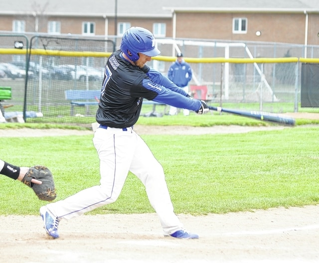 Urbana University's Mickey Barea knocks in the tying runs in extra innings of UU's game against visiting Ohio Valley University on Wednesday.