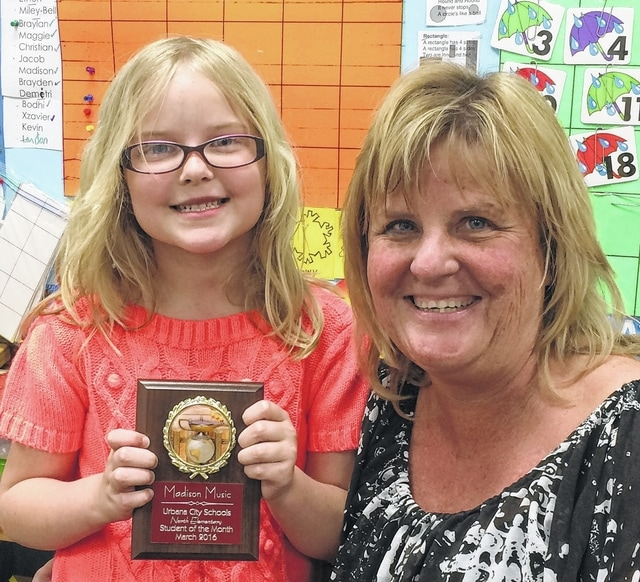 The student of the month at Urbana North Elementary is Madison Music. She is in kindergarten Teacher Trout's class.