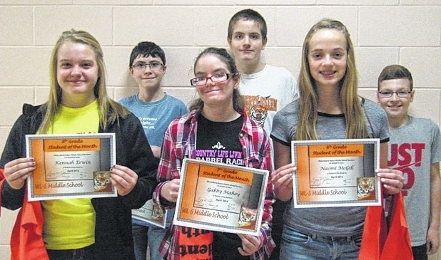 West Liberty-Salem Middle School's April Students of the Month are 8th graders Kennah Erwin and Sam Benedict, 7th graders Gabby Mahoy and Adam Watkins and 6th graders Naomi McGill and Austin Smith.