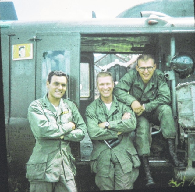 From left are Steve Zanini, Gunner; Jim Miller, Aircraft Commander; and Don Johnson, Crew Chief.