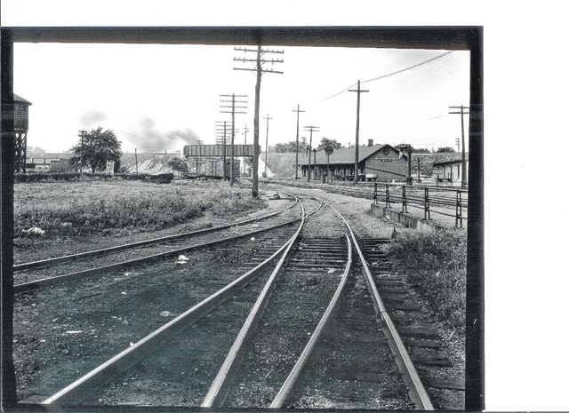 The railroad side of the Erie Railroad Passenger Depot in Urbana in 1930.