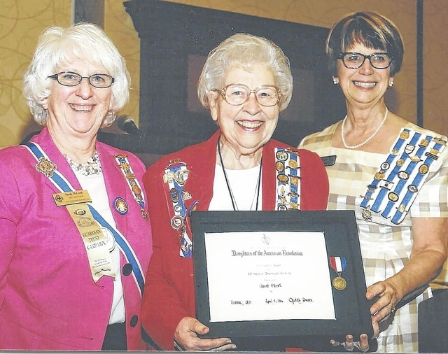 From left are Ohio Society DAR State Regent Sandra McCann, Jan Ebert and Darlene West, who presented the award.