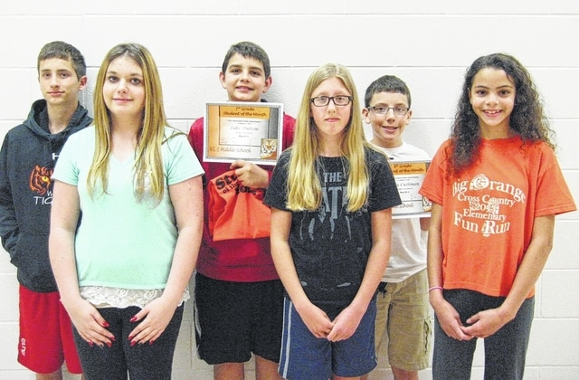 The West Liberty-Salem May middle school Students of the Month are eighth graders Colleene McGill and Trenton Douthwaite; seventh graders Maria Henderson and Luke Hudoson; and sixth graders Mandilyn Weaver and Cody Cushman.
