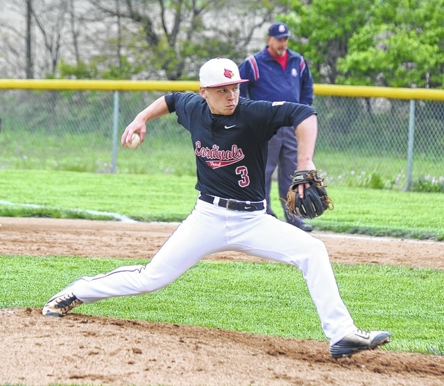 Triad's Trent McIntyre hurls a pitch against Mechanicsburg on Tuesday. McIntyre struck out 6 batters in three innings of relief work.